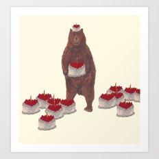 he baked so many  strawberry cakes. Art Print