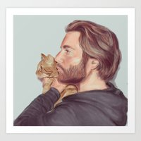 A Man and his Cat Art Print