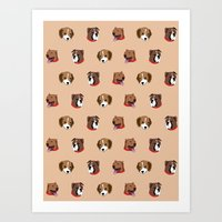 Cute and Elegant Dog Head Graphic Pattern Art Print