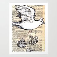 Dove Flying With Crowns Art Print