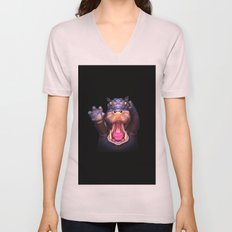 Animal Portraits - Hippopotamus Unisex V-Neck