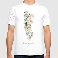 Word Cloud - NYC Mens Fitted Tee White SMALL
