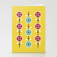 Scandinavian inspired flower pattern - yellow background Stationery Cards