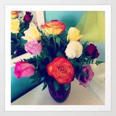 Rose Bouquet Pop Art Print