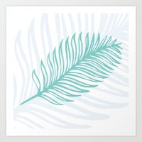 Palm Leaf in Blue and Green Art Print