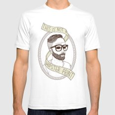 This Is Not A Hipster Print SMALL Mens Fitted Tee White