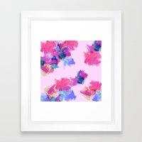 Printed Silk Rose Clouds Framed Art Print