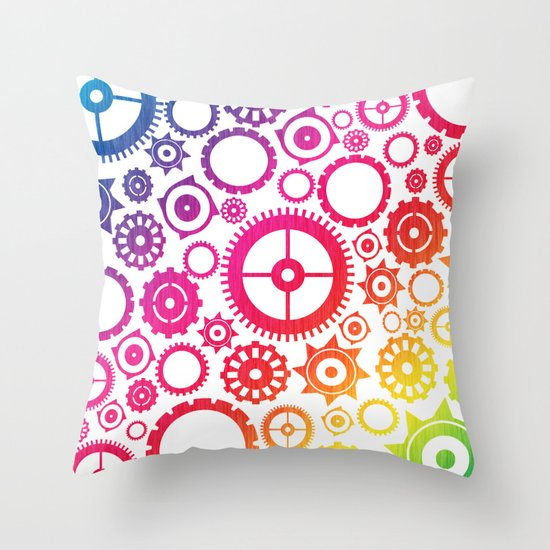 Color Cogs. Throw Pillow