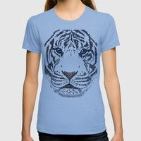 White Tiger Womens Fitted Tee Athletic Blue SMALL