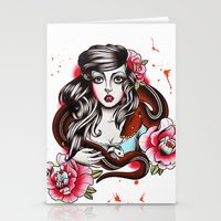 The Girl The Snake And T… Stationery Cards