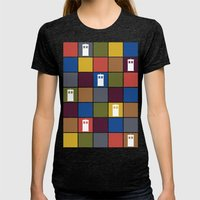 TARDIS Tiles Womens Fitted Tee Tri-Black SMALL