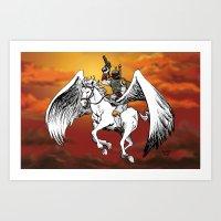 Boba Fett riding Pegasus Art Print