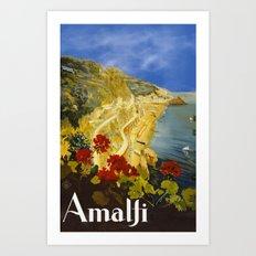 Vintage Amalfi Italy Travel Art Print