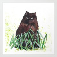 grass cat Art Print