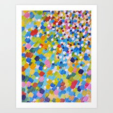 SWEPT AWAY 1 - Bright Colorful Rainbow Blue Ocean Waves Mermaid Splash Abstract Acrylic Painting Art Print