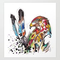 Hawk and Feathers. Art Print