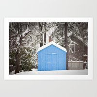 Blue Snow House  Art Print