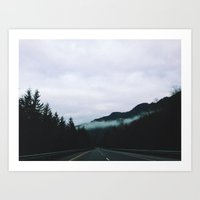 road through the fog Art Print