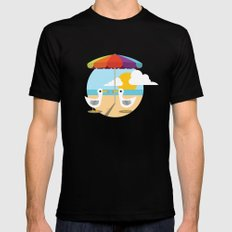 Beach Day  SMALL Black Mens Fitted Tee