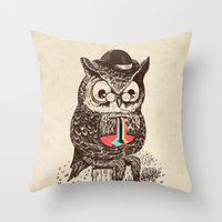 Strange Owl Throw Pillow