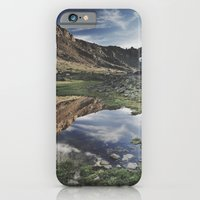 iPhone & iPod Case featuring Dream Lake at the mountains. Retro by Guido Montañés