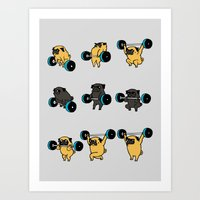 OLYMPIC LIFTING PUGS Art Print
