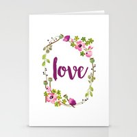 Floral Wreath Watercolor - Love - by Sarah Jane Design Stationery Cards