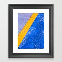 Abstract Blue and Yellow Framed Art Print