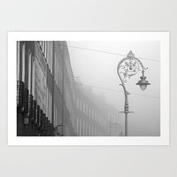 Dublin street lamp in the fog Art Print