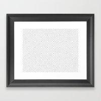 Squares white Framed Art Print