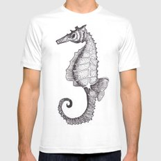 Hippocampus Abdominalis SMALL White Mens Fitted Tee
