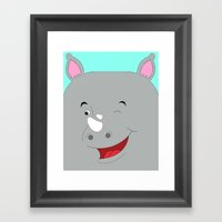Rhino Male in Love Looking to the Left Framed Art Print