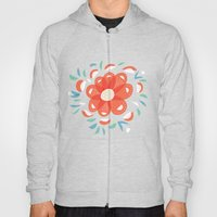 Whimsical Decorative Red Flower Hoody