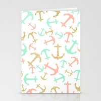 Summer pastel pink mint gold nautical anchors  Stationery Cards