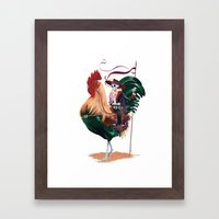 Rooster And Dead Rider Framed Art Print