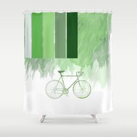 Green Watercolor Bicycle Design With Stripes And Splodges Shower Curtain