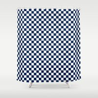 Checkered Blue and White Shower Curtain