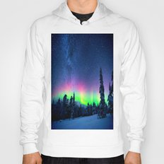 Aurora Borealis Over Wintry Mountains Hoody