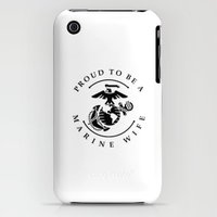 iPhone 3Gs & iPhone 3G Cases featuring Proud To Be A Marine Wife Stamp by Brandy Willetts