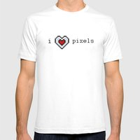 I Love Pixels  Mens Fitted Tee White SMALL