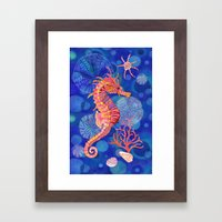 Seahorse in the Deep Blue Framed Art Print