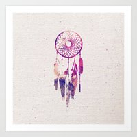 Girly Pink Purple Dream Catcher Watercolor Paint Art Print
