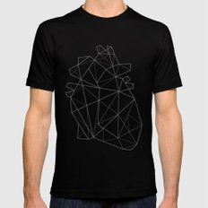Origami Heart Black Mens Fitted Tee SMALL