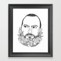 beard's pink flowers Framed Art Print