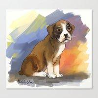 Sitting Boxer Canvas Print