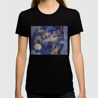Grey Wolf Moon Womens Fitted Tee Black SMALL