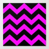 Black & Pink Chevron Lin… Canvas Print