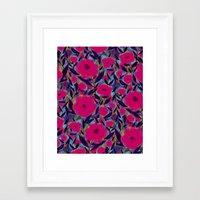 Layered Leaf Floral Fuchsia Framed Art Print