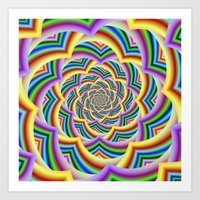 Colorful Curved Chevron Spiral Art Print