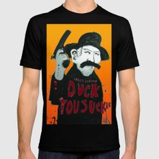 Duck you Sucker with James Coburn SMALL Black Mens Fitted Tee